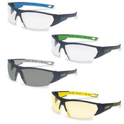 UVEX Schutzbrille i-works 9194 UV-Schutz Sicherheitsbrille, Arbeitsschutzbrille - Farbe:anthrazit-blau / klar