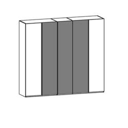 Thielemeyer Cubo Kleiderschrank 5-türig mit 3 Color Glastüren