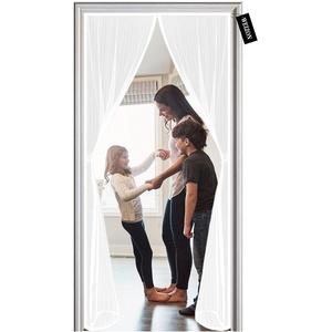 Fliegengitter Balkontür, 135 x 225 cm Magnetische Adsorption, Magnetvorhang für Balkontür Terrassentür Kellertür Schiebetür und Wohnzimmer - Weiß