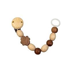 Holz-Schnullerkette  Silikonring  Kleeblatt dunkel