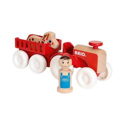 BRIO® Spielzeug-Eisenbahn Traktor mit Pferde-Anhänger