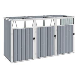 vidaXL Mülltonnenbox vidaXL Mülltonnenbox für 3 Mülltonnen Grau 213×81×121 cm Stahl