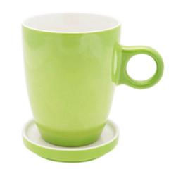 PICKWICK Tasse Teetasse mit Untertasse, Tee Tip, grün, 230 ml, Porzellan