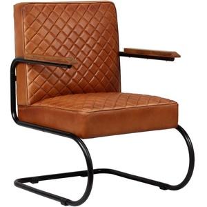 vidaXL Armlehnstuhl Echtleder Hellbraun