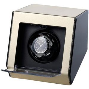 """Raoul U Braun Uhrenbeweger """"Ferrum Style"""" für 1 Uhr Champagner Aluminiumgehäuse Watchwinder"""