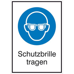 Gebotsschild Schutzbrille benutzen, Hygiene und Abstand Folie selbstklebend (B x H) 131mm x 185mm IS