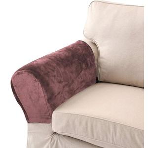 LERTREEUK Sofa-Armlehnenschoner aus Samt, weich, elastisch, abnehmbar, 2 Stück weiß (Kaffee)