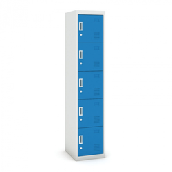 Fünftüriger schrank, zylinderschloss, 1800 x 380 x 450 mm, grau/blau