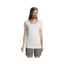 Shirt aus Jacquard-Jersey, Damen, Größe: L Normal, Beige, by Lands' End, Antik Alabaster Palme - L - Antik Alabaster Palme