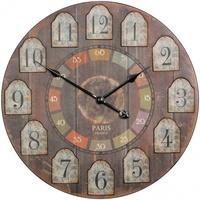 Wohnling Deko Vintage Wanduhr XXL Ø 60 cm France Holz bunt Große Uhr Dekouhr rund, Design Retro Küchenuhr für Küche & Wohnzimmer