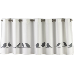 Scheibengardine Scheibengardine Ösengardine Bistrogardine Küchengardine 2509 02 Vögel Natur Grau 48x140 cm, EXPERIENCE, Ösen (1 Stück), 14 Ösen