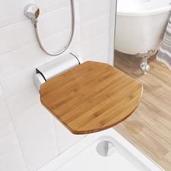 Ausklappbarer Duschsitz mit schmaler Wandalterung – Bambus – Select, von Hudson Reed