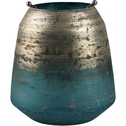 AM Design Windlicht Shabby Chic (1 Stück), aus Glas mit Metalleinsatz Ø 15 cm x 14 cm