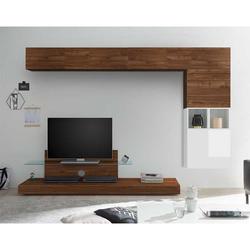 Fernseher Anbauwand in Nussbaumfarben und Weiß Hochglanz TV Aufsatz (7-teilig)