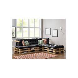 en.casa Palettenkissen, Tasartico Palettensofa 3-Sitzer Palettenmöbel inkl. Kissen Lehnen und 6 Paletten dunkelgrau grau