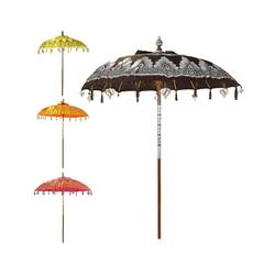 Oriental Galerie Sonnenschirm Balinesischer Sonnenschirm 180 cm Doppelte Bemalung Braun Silber, Handarbeit braun