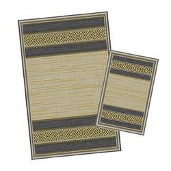 Korhani Gimli Outdoorteppich-Set 160x213 cm + 80x112 cm Schwarz|Natur|Gelb|Mehrfarbig