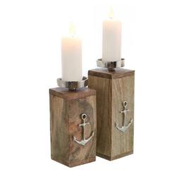 """Parts4Living Kerzenständer Kerzenständer """"Anker"""" Kerzenhalter im 2er Set aus Mangoholz natur mit Aluminium 8,5x9x21cm & 8,5x9x25 cm (Set, 2er Set), rustikale Optik"""