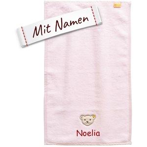 LALALO Steiff Kinder & Baby Handtuch Bestickt mit Namen, Mädchen, Rosa, Frottee Kinderhandtuch personalisiert, Zierkante (30x50 cm Handtuch)