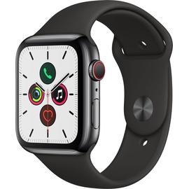 Apple Watch Series 5 (GPS + Cellular) 44mm Edelstahlgehäuse Space Schwarz, Sportarmband Schwarz