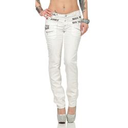 Cipo & Baxx Slim-fit-Jeans weiß mit Dreifachbund 27