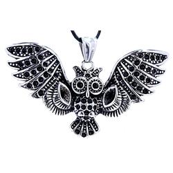 Kiss of Leather Kettenanhänger 3D Eulen Anhänger aus Edelstahl Eule Uhu Owl Nachtvogel