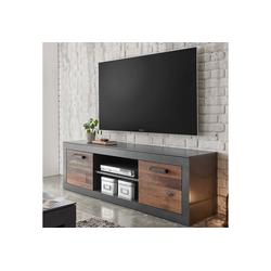 Lomadox Lowboard BERLIN-61, Industrial Design TV- in Old Mix Dekor mit Matera grau, B/H/T ca.: 153/51/43 cm