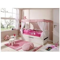 TICAA Himmelbett Lino Mini Kiefer weiß inkl. 4 Schubkästen stern-rosa