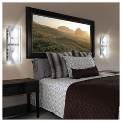 etc-shop Deckenstrahler, 2er Set LED Decken Leuchten Schlaf Gäste Zimmer Wand Lampen Glas Chrom Strahler