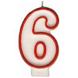 Zahlenkerze, Geburtstagskerze `6`, 75mm, 1 Stk.