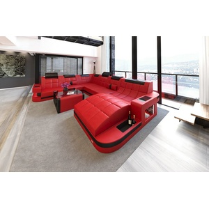 Sofa Dreams Wohnlandschaft Wave, XXL U Form Ledersofa mit LED, wahlweise mit Bettfunktion als Schlafsofa, Designersofa rot