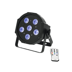 EUROLITE Discolicht UV Schwarzlicht LED Spot 6x3W - DMX Ansteuerung - 13° Abstrahlwinkel - Musiksteuerung - Fernbedienung