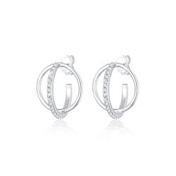 Elli Paar Creolen Creole 3D Geo Swarovski® Kristalle 925er Silber
