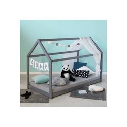 Homestyle4u Kinderbett Kinderbett Kinderhaus 80 x 160 cm Spielbett grau grau