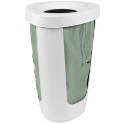 Rotho FABU Wäschesammler, 50 Liter, Praktischer, platzsparender Eck-Wäschesammler, Farbe: weiß/grün