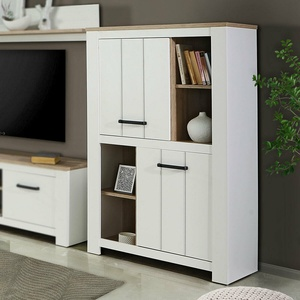Schrank Elara Highboard Wohnzimmerschrank in weiß matt und Eiche Bianco