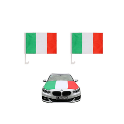 Sonia Originelli Fahne Auto Fan-Paket Haubenfahne Fensterfahnen Spiegelfahnen Magnetflaggen Italien Italy Italia, Fanartikel für das Auto in Italien-Farben Fanset-10