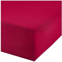 REDBEST Spannbettlaken, REDBEST, Uni Elasthan-Jersey-Stretch rot 140-160 cm x 200 cm
