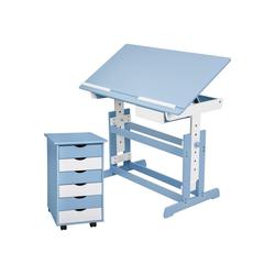 tectake Kinderschreibtisch Kinderschreibtisch und Rollcontainer (1-St) blau