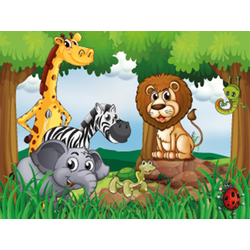 Fototapete Jungle Animals, glatt 2 m x 1,49 m