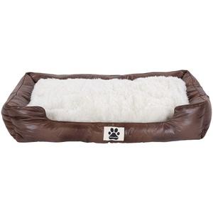 Clamaro 'DeluxePet' Hundebett braun 120x80 aus Kunstleder mit 2in1 Wendekissen, Hundekissen für große Hunde mit Einer Fell und Leder Seite, Seiten weich gepolstert, Anti-Rutsch Rückseite