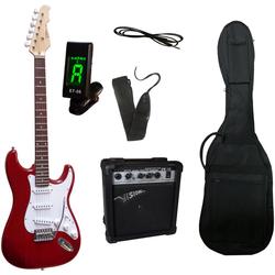 Gitarrenset E-Gitarre - ready to go, inkl. Verstärker, Gitarrentasche, Gitarrengurt, Klinkenkabel und Stimmgerät rot