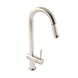 1810 Sink Company Brushed Steel Single Lever Pull Out Aerated Mixer Kitchen Tap - Grande
