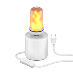 Tischlampe TIPO Porzellan rund weiß + E27 Flammenlampe