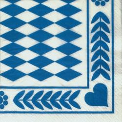 "Papstar Dekoservietten, 1/4-Falz, 33 cm x 33 cm, 3-lagig, Motiv: ""Bayrisch Blau"", 1 Karton = 15 Packungen à 20 Stück"