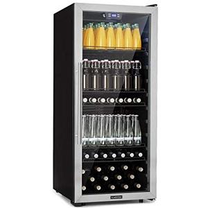Klarstein Beersafe 7XL Getränkekühlschrank • Kühlschrank • 242 L für bis zu 357 Getränkedosen • 5 Metalleinlegeböden • Glastür • Energieeffizienzklasse A+ • freistehend • Bodenrollen • Edelstahlfront