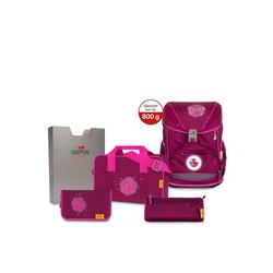 DerDieDas® Schulranzen ErgoFlex Exklusiv LED Schulranzen-Set 5tlg. 38 cm rosa