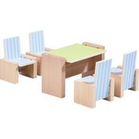 Haba 303839 - Little Friends, Puppenhaus-Möbel, Esszimmer (Tisch, 4 Stühle) 5-teilig