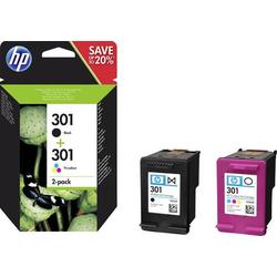 HP 301 Tintenpatrone Kombi-Pack Original Schwarz, Cyan, Magenta, Gelb N9J72AE Druckerpatronen Kombi-