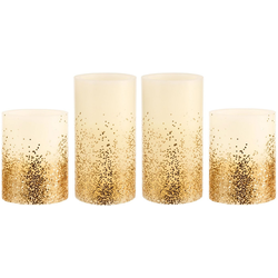 Pauleen LED-Kerze Golden Glitter (Set, 4-tlg), Wachskerze, Time, elfenbein/Glitzer goldfb.